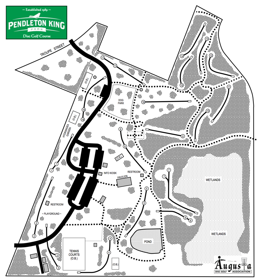 Disc Golf Course Pendleton King Park Hole Diagram Features An 18 That Winds Players Through The Sites And Sounds Of Property