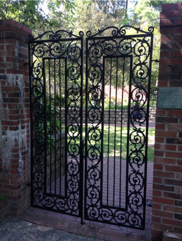 A beautiful iron gate leads visitors into the touch and smell garden at Pendleton King Park.
