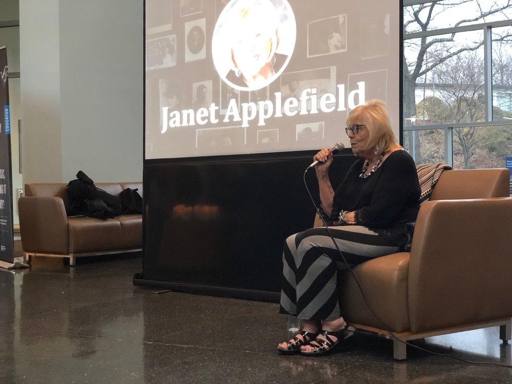Janet Applefield spoke to 150 students