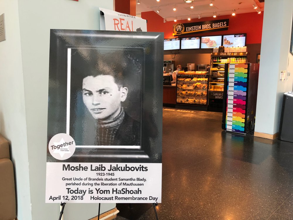 Photographs of Holocaust victims were places around campus
