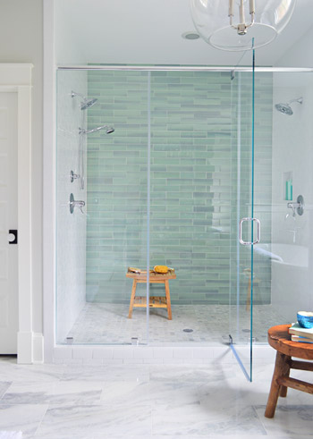Shower tile accent wall from  Young House Love