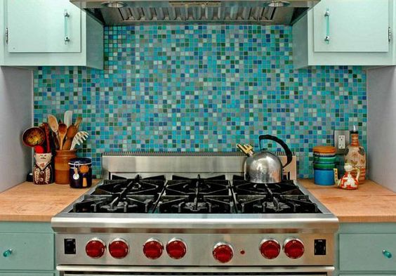 Turquoise backsplash from  Houzz