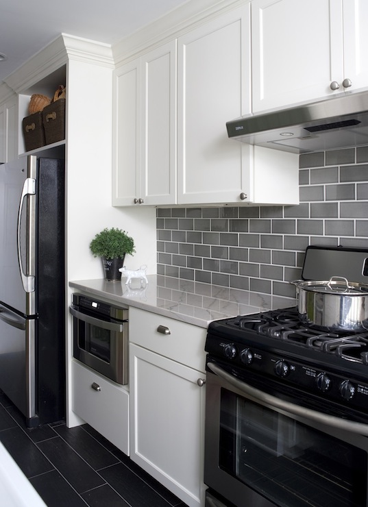 Gray on white backsplash from  Decor Pad
