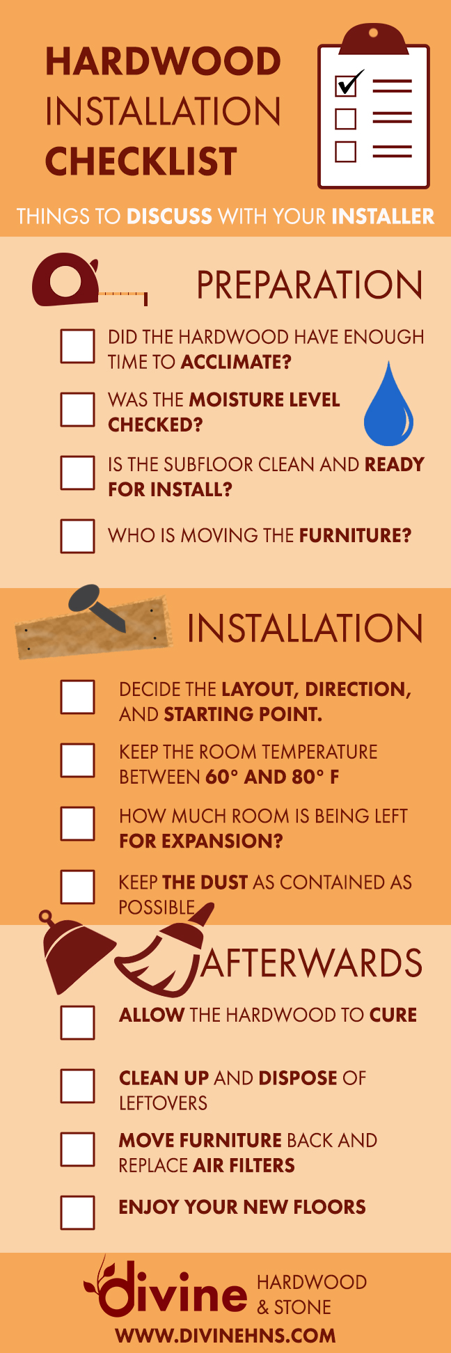 Hardwood Installation Checklist Infographic