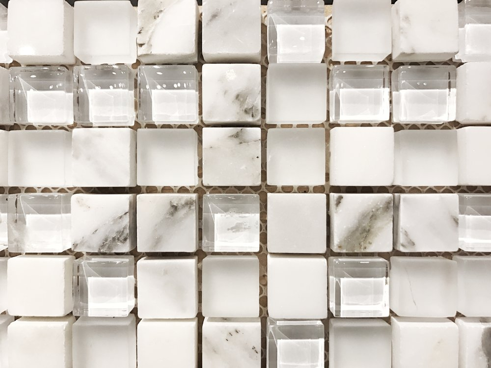 marble and glass mosaic backsplash Portland, OR