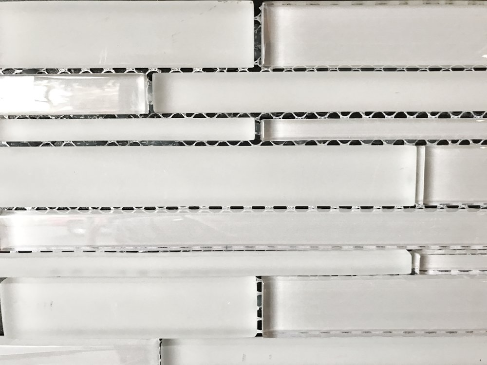 Rectangular glass mosaic by Modern Surfaces in Portland, OR