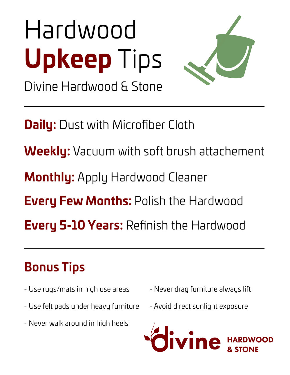 Hardwood Upkeep Checklist by Divine Hardwood & Stone in Portland, OR