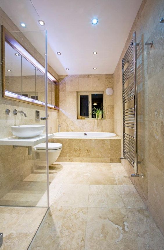 Travertine Bathroom by  www.thebathoutlet.com