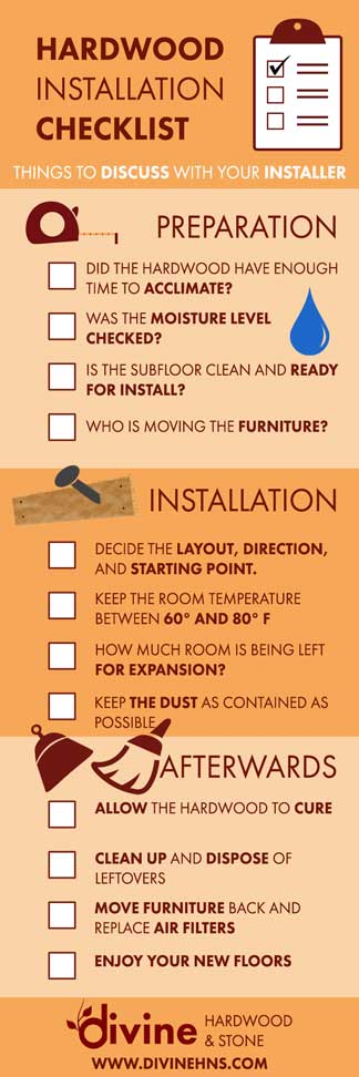 Image of Hardwood Flooring Installation Checklist infographic, button for blog post by Divine H&S