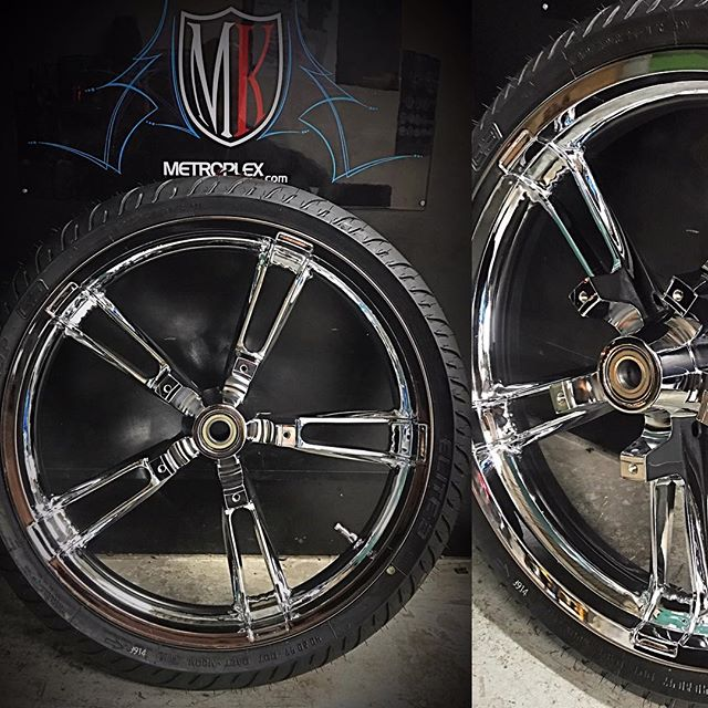 """***21"""" Harley Reinforcer Wheels In-Stock*** Metroplex Kustoms carries the factory Harley Enforcer wheel in a 21"""" in stock chrome or can Powder Coat next day. Only requires front fender spacers for clearance. $1800 and you can roll out same day! 817-404-6002"""