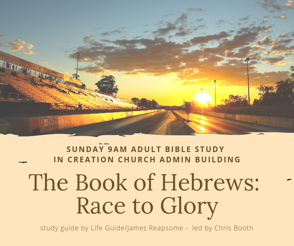 "Starting Sunday, March 3rd, 9am, there will be a Bible Study on the book of Hebrews led by one of our deacons, Chris Booth. Meet in the Admin building!   Contact: Chris 508-410-0695.  -  ""What's the use?"" At times of frustration or disappointment, it is tempting to ask this question. You work and work to grow to Christian maturity, but you seem to get nowhere--repeating your mistakes, neglecting your commitments, losing your motivation. The original readers of Hebrews felt the same way! Yet the writer of this New Testament letter cheers for them to stay on track and never quit, so they can reach the finish line by the power of Jesus Christ. As James Reapsome leads you through thirteen studies in Hebrews, he offers you--and all of today's faith-weary Christians--the encouragement you need to stay in the faith-race. This LifeGuide Bible Study in IVP's revised format features questions for starting group discussions and for meeting God in personal reflection, as well as a new ""Now or Later"" section following each session to help you act on what you learn."