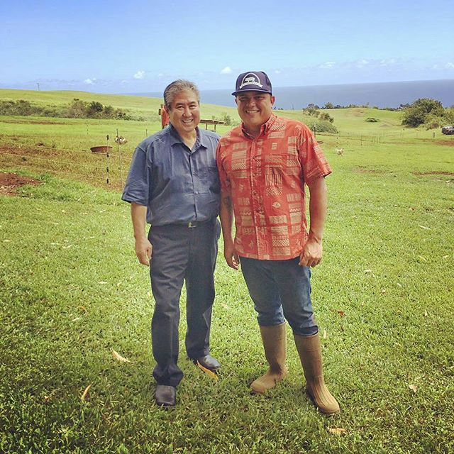 @Regrann from @hifoodwinefest -  Chef Alan Wong with boutique livestock farmer @KaunamanoFarm Brandon Lee.#HFWF16CulinaryJourney #NaturalLEEGrown #Regrann