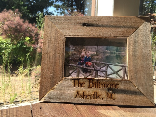 reclaimed distressed wood laser engraved picture frame