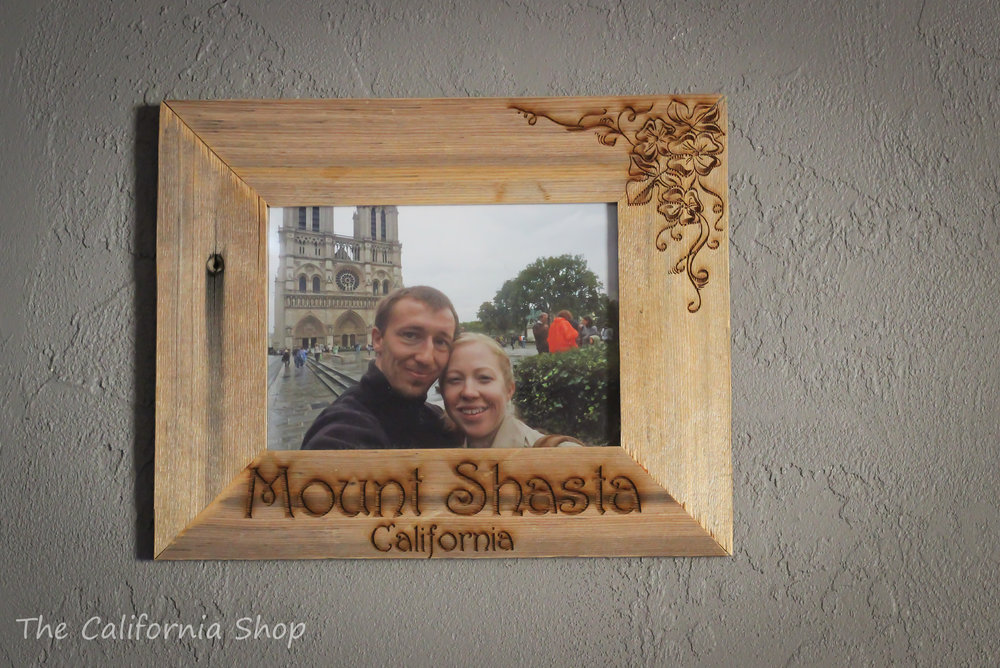 Reclaimed wood engraved picture frame