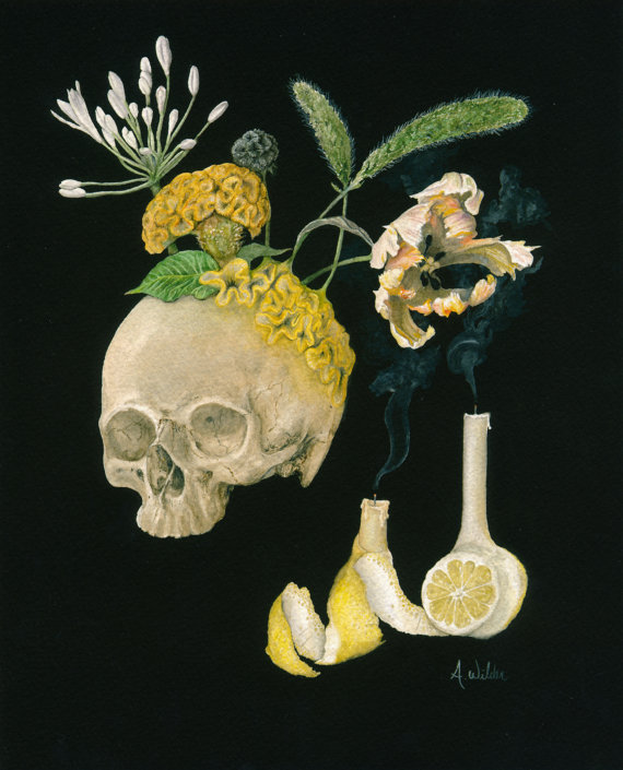 Cerebral Vanitas inspired Watercolor Painting of Skull with Flowers - Giclee Print $22+