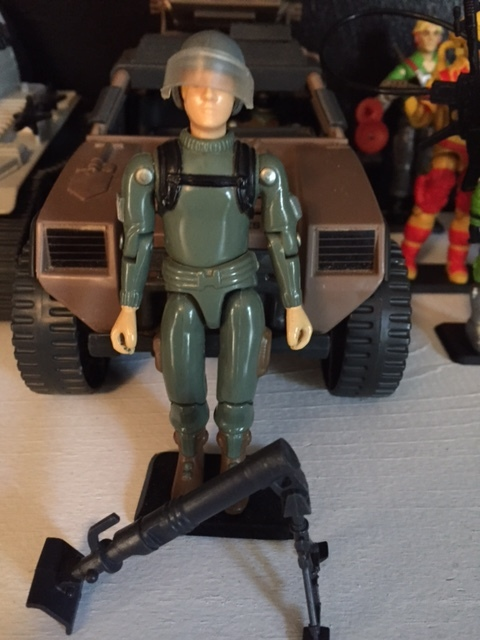 "1982 straight arm original 3.75"" series G.I. Joe MORTAR soldier short Fuse"