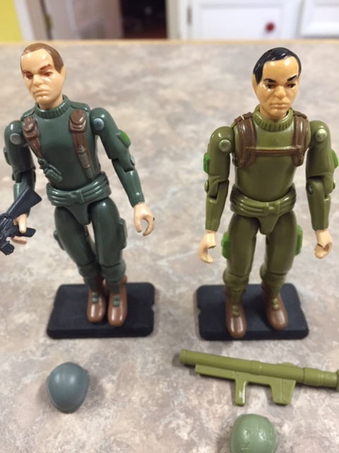 Grunt is very similar to the G.I. Joe bazooka solider zap. the two share the same head sculpt, arms, waist, and legs. the colors differ and zap's plastic is much more brittle. the chest and back are also different.