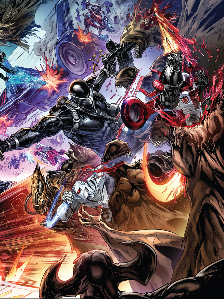 ROM, Snake Eyes, and the Transformers battle M.A.S.K. and the Dire Wraiths.