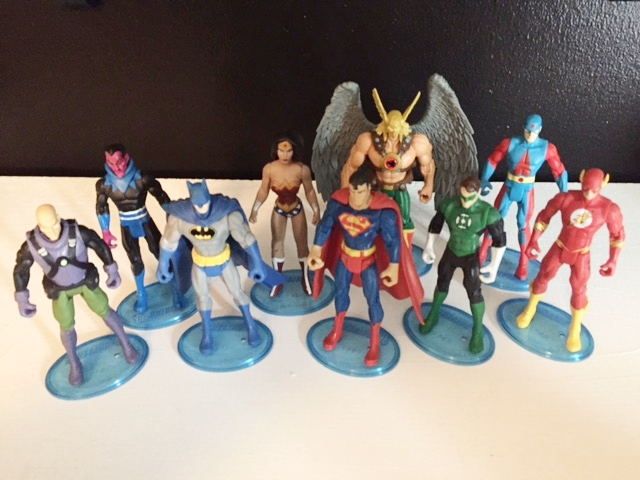 Lex Luthor, Sinestro, Batman, Wonder Woman, Superman, Hawkman, Green Lantern, The Atom, The Flash