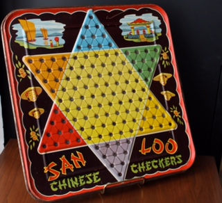 Chinese Checkers... It's like checkers except it isn't.  In fact, it isn't even chinese at all.  Chinese Checkers is of German origin called Sternhalma which can be played by two, three, four, or six people, played individually or with partners.
