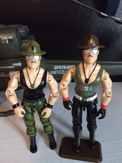 Two G.I. Joe Sgt. Slaughter figures from 1986 (the one on the right is often credited as 1985 version but the triple T tank version was available in more places originally so I always consider the USA version as version 2)  The figures are identical aside from the paint scheme.