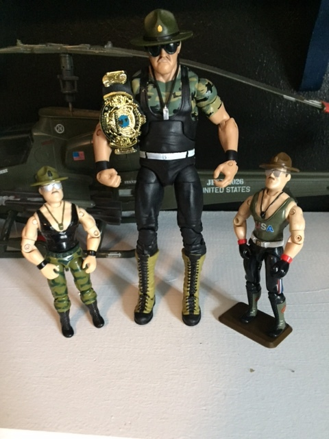 currently, sgt. slaughter's likeness is back under the control of the WWE who is licensed to mattel.  the most recent sgt. slaughter action figure from mattel really has a G.I. joe feel to it.