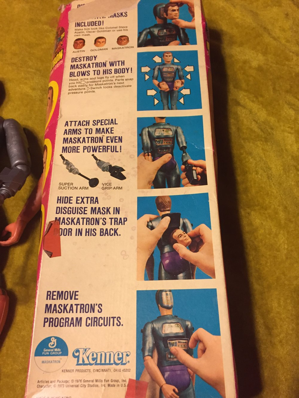 The back of the box explains the various action figures.  there is a compartment on back of the figure to store the face plates but it is virtually impossible to fit them inside.