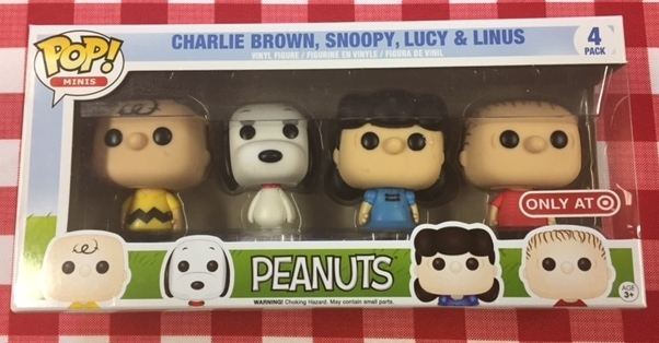 Our next patreon give-away is this four piece funko pop Minis peanuts set featuring charlie brown, snoopy, lucy, and linus!