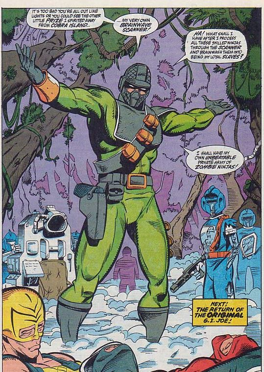 yes, in later years of the original run of Marvel Comics G.I. Joe: A Real American hero, they took one of the best costumes they had and changed it to this green and grey monstrosity.  but it gets even worse...  they unmask firefly to reveale...