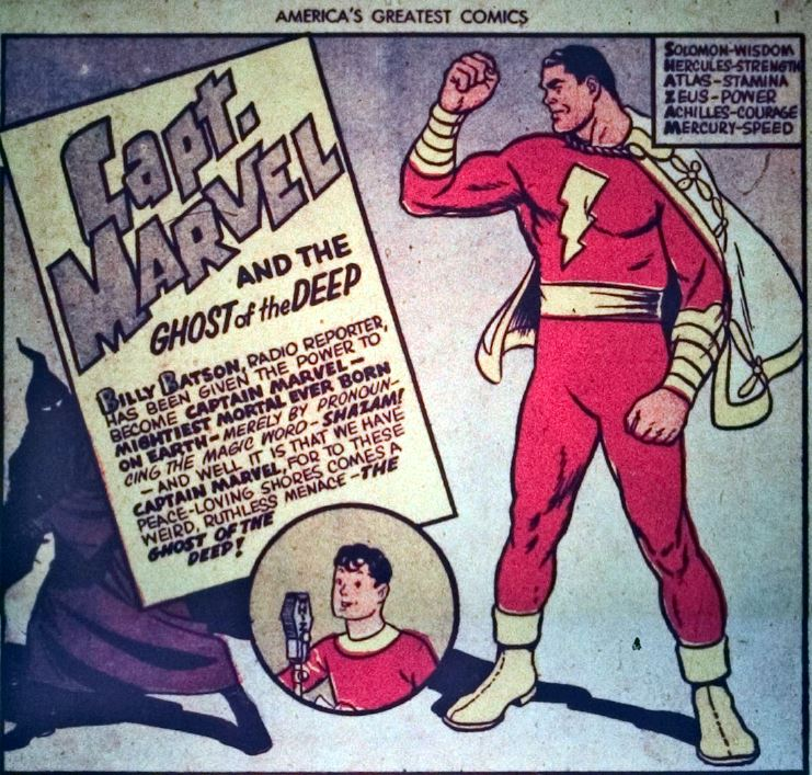 Captain Marvel early appearance from America's Best comics in 1940.  Captain Marvel got his powers from the mythical characters- S- Solomon, H- Hercules, A- Atlas, Z- Zeus, A- Achilles, M- Mercury.