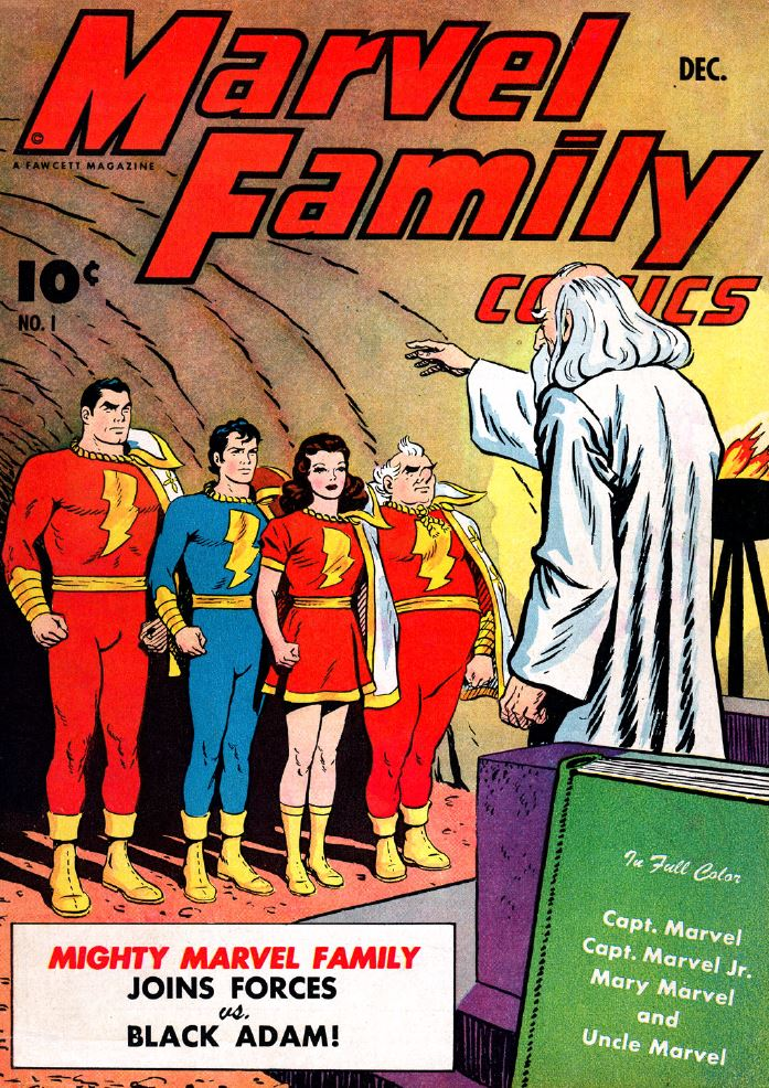 the popularity of captain marvel in the 1940's saw the spin off of an entire marvel family including captain marvel, jr., mary marvel, uncle dudley, and others.  captain marvel, jr. was a favorite of elvis presely who took his lightning bolt T.C.B. logo and cape from his childhood love of the character.