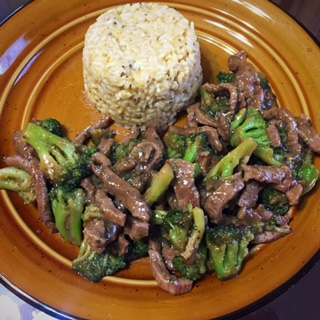 beef and BROCCOLI stir fry and homemade yum yum sauce from tonya's diner