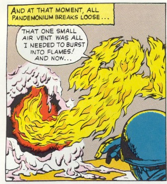 at this stage of the marvel universe, the human torch is still drawn featurelessly and simply.