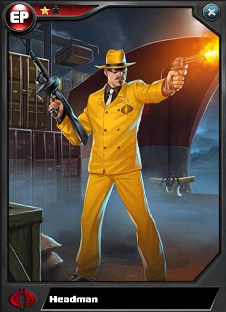 The Headman appeared in his modern era yellow suit in the G.I. Joe Battleground card game and was designated as a member of cobra, which was never the case.