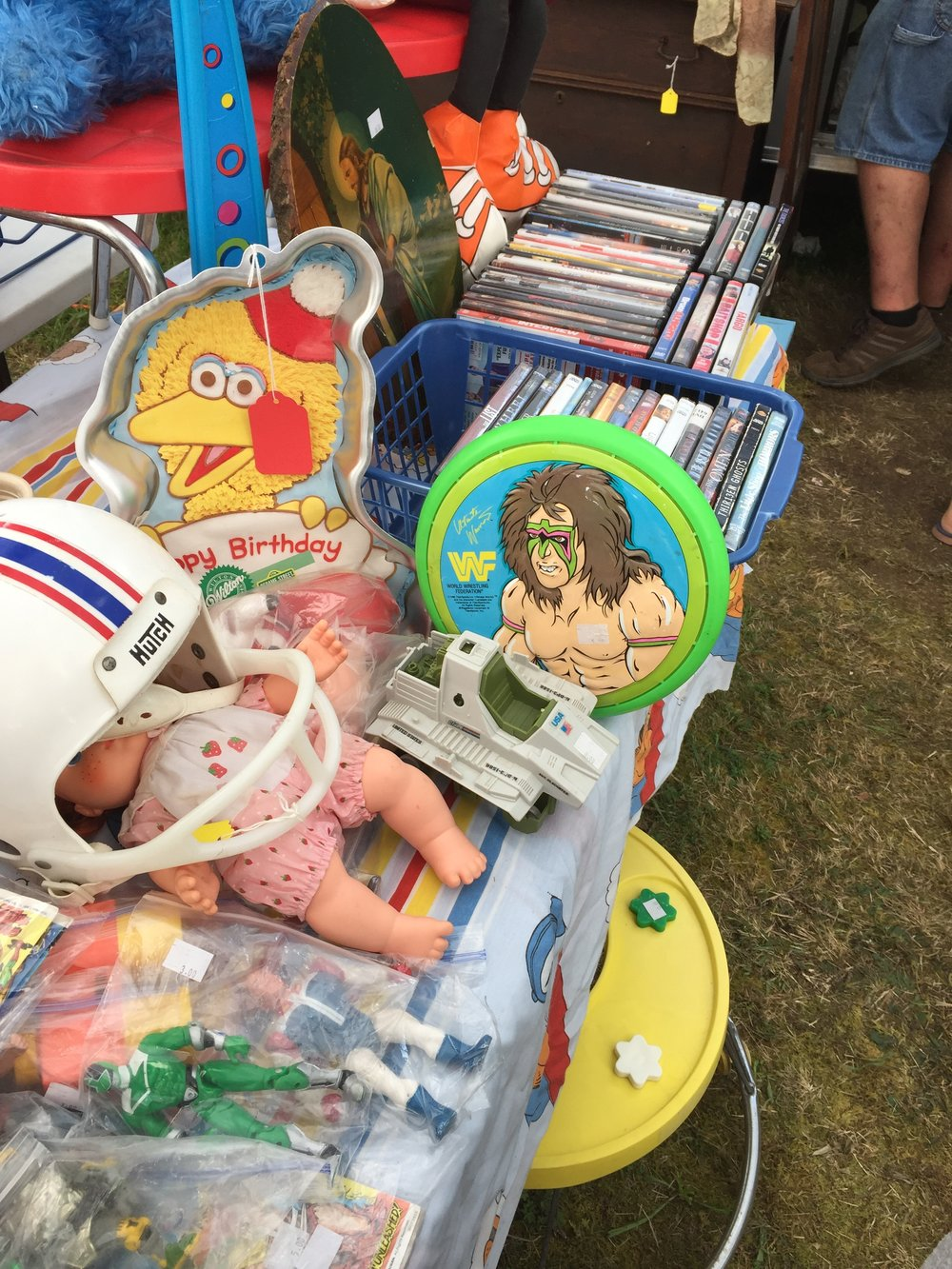 What goodies came you spot? A power Ranger, A plastic football helmet, the remains of a G.I. Joe Triple T tank, An ultimate warrior WWF Frisbee, Big Bird, DVDs, and more!