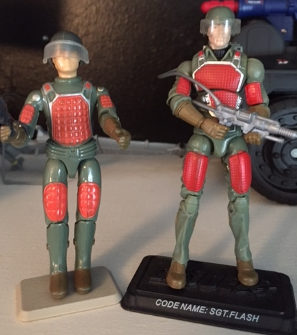 Original 1982 flash along side his 25th anniversary update Sgt. Flash.