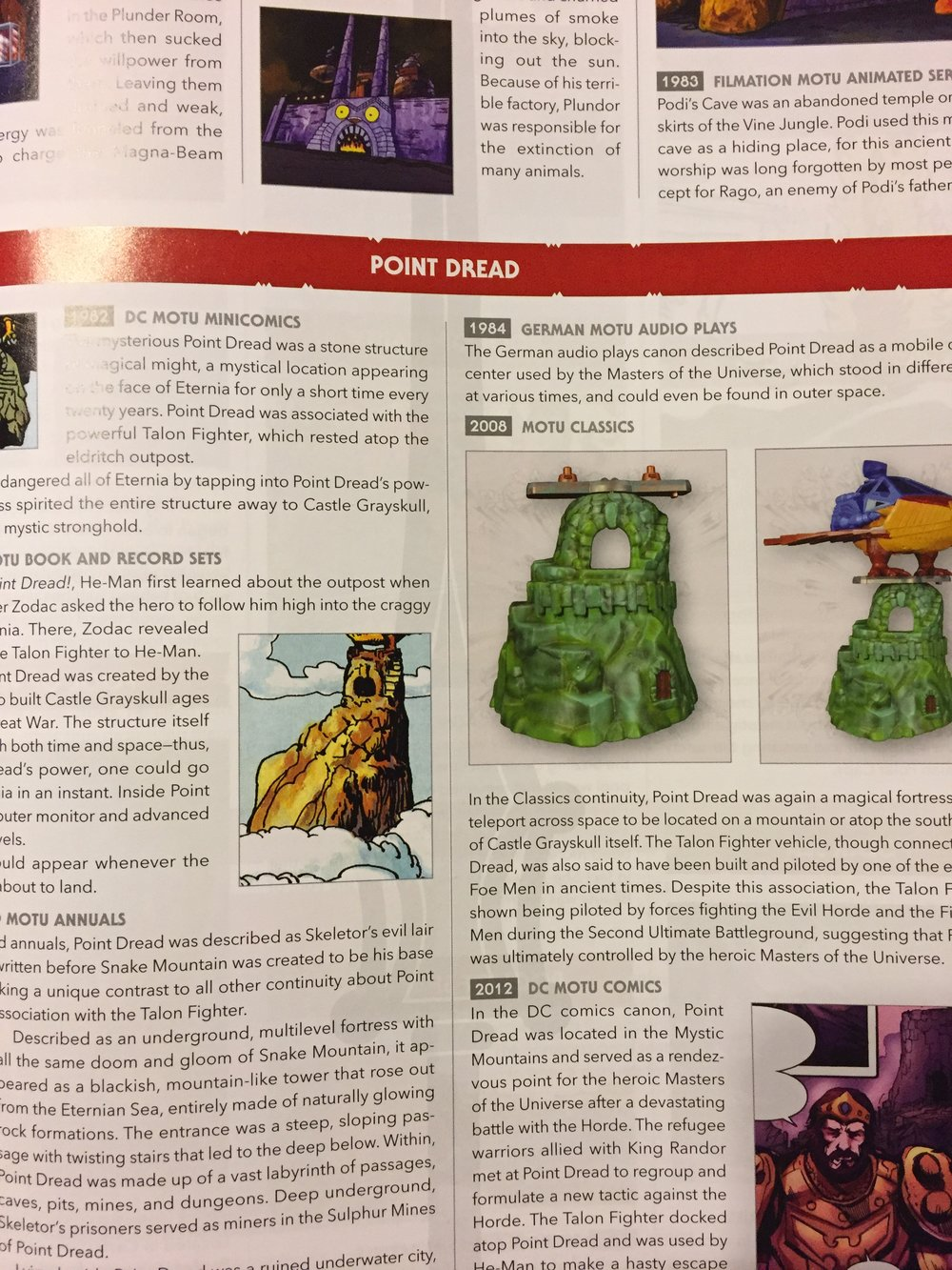 There is also a section for locations, artifacts, and much more.  Of course, the encyclopedia contains numerous photos of the various Masters of the Universe toys as well.