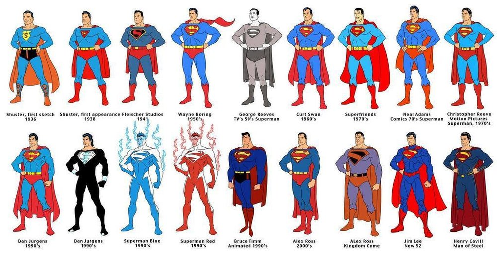 Superman through the ages.jpeg
