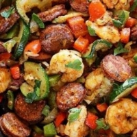 Low carb shrimp and sausage skillet.JPG