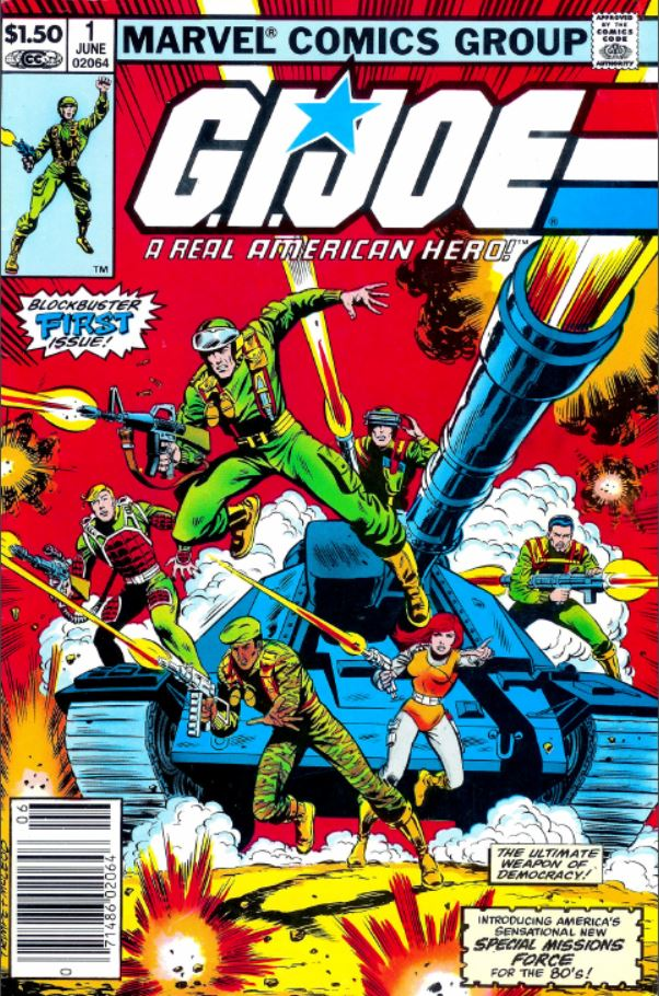 marvel comics G.I. Joe: A Real American Hero issue 1 (1982) by Larry hama with a cover featuring (clockwise from top) Hawk, Steeler, Zap, Scarlet, Stalker, and flash with the MOBAT tank in the back ground.