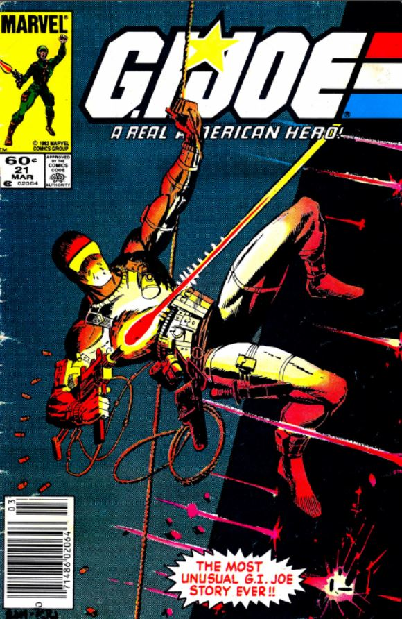 "Marvel comics G.I. Joe: A Real American Hero issue 21, the legendary ""silent interlude"" issue by Larry Hama featuring snake eyes on the cover and introducing storm shadow."