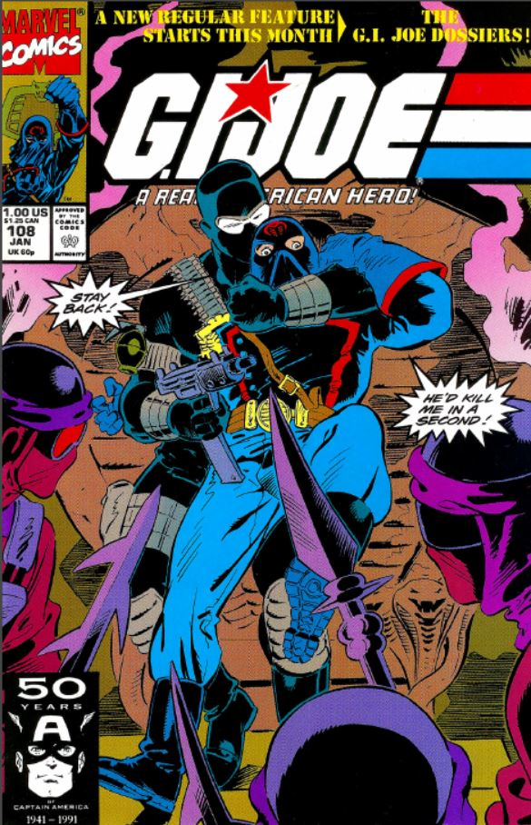 Marvel Comics G.I. Joe: A Real American Hero issue 108 featuring snake eyes and the cobra commander and the night creepers on the cover. (1991)