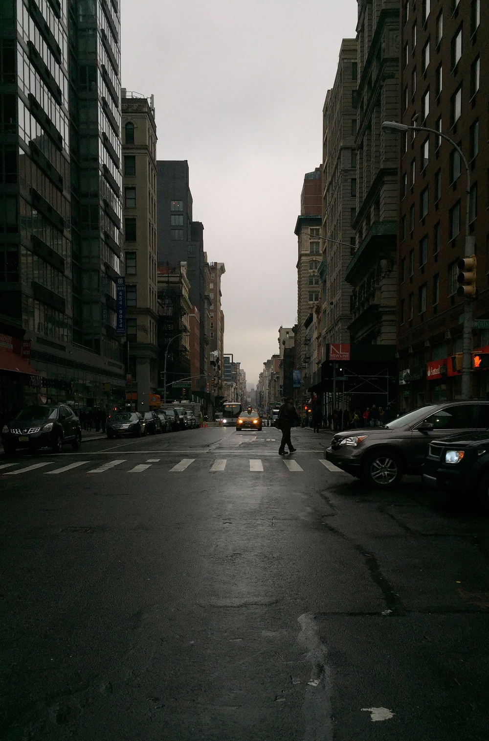 Looking north on Broadway and Worth street on a gloomy Tuesday in late December - December 29, 2015