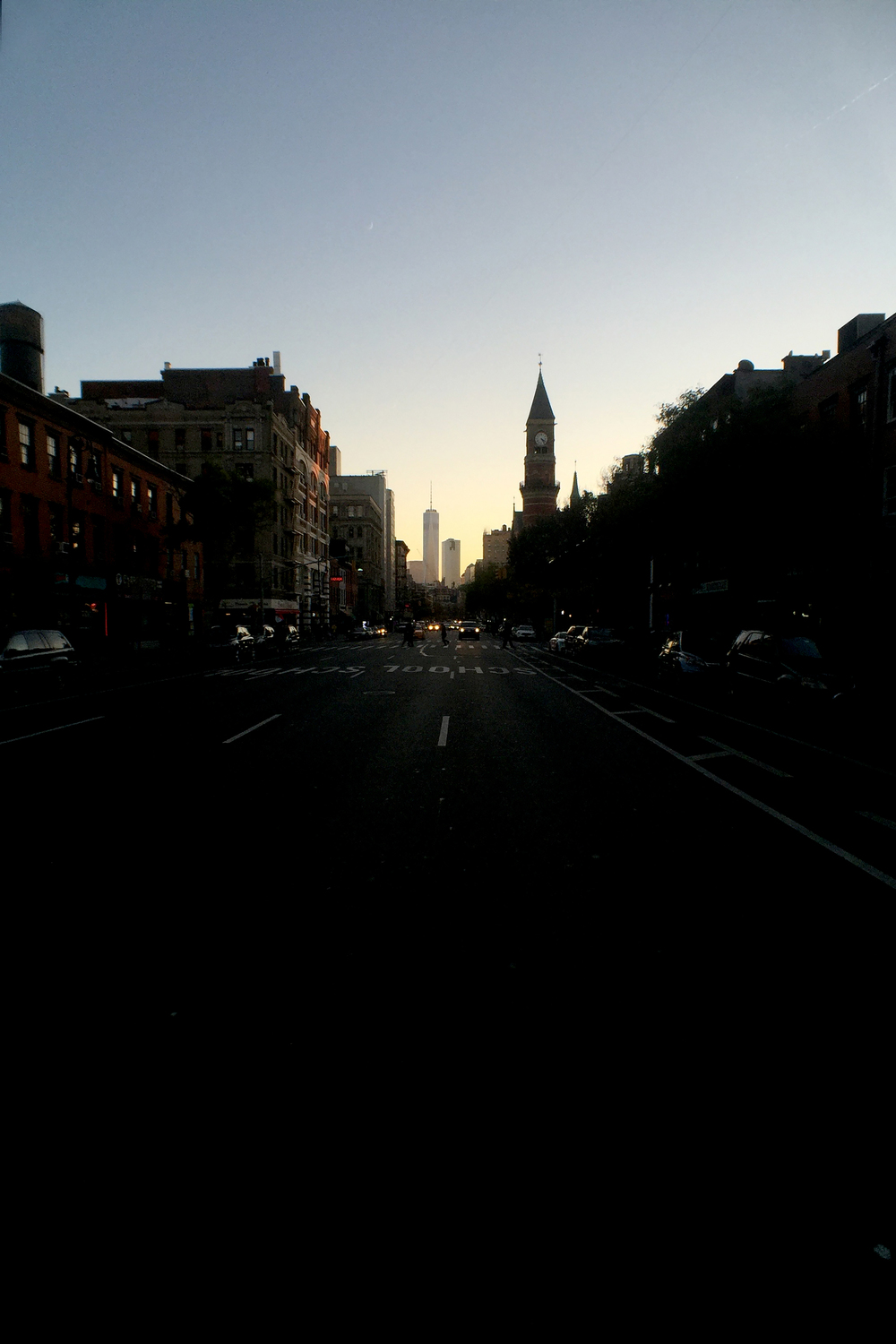 Looking south on Avenue of the Americas (6th Avenue) from W12th Street as a late autumn sunset approaches - November 15, 2015