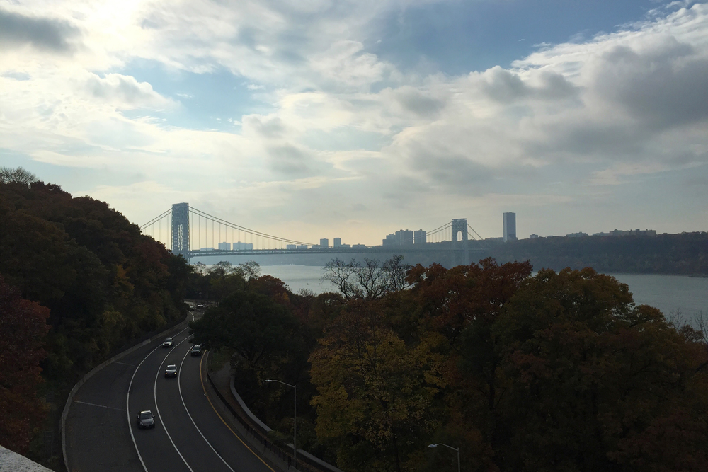 The George Washington bridge from Fort Tryon Park on a Friday in autumn - November 6, 2015