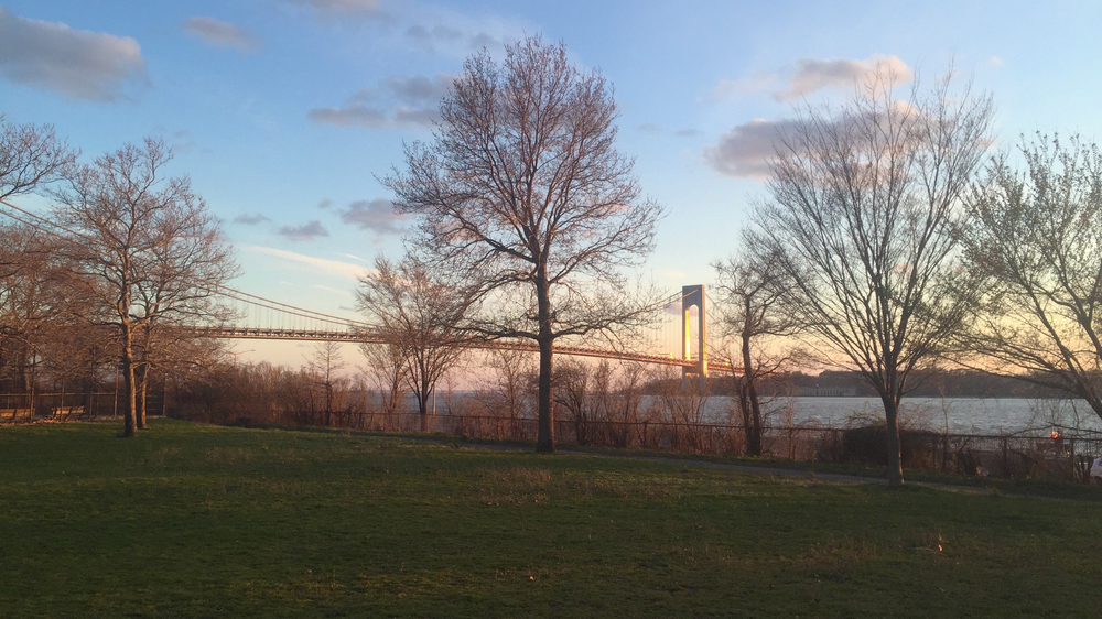 A picturesque view of the Verrazano Narrows Bridge at sunset from inside Shore Road Park - April 8, 2016