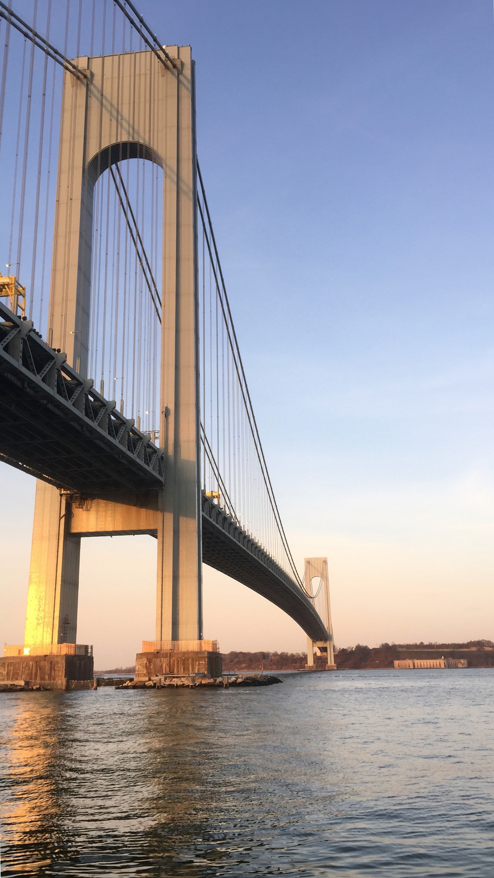 The Verrazano-Narrows Bridge glistens in the morning sun - March 24, 2016
