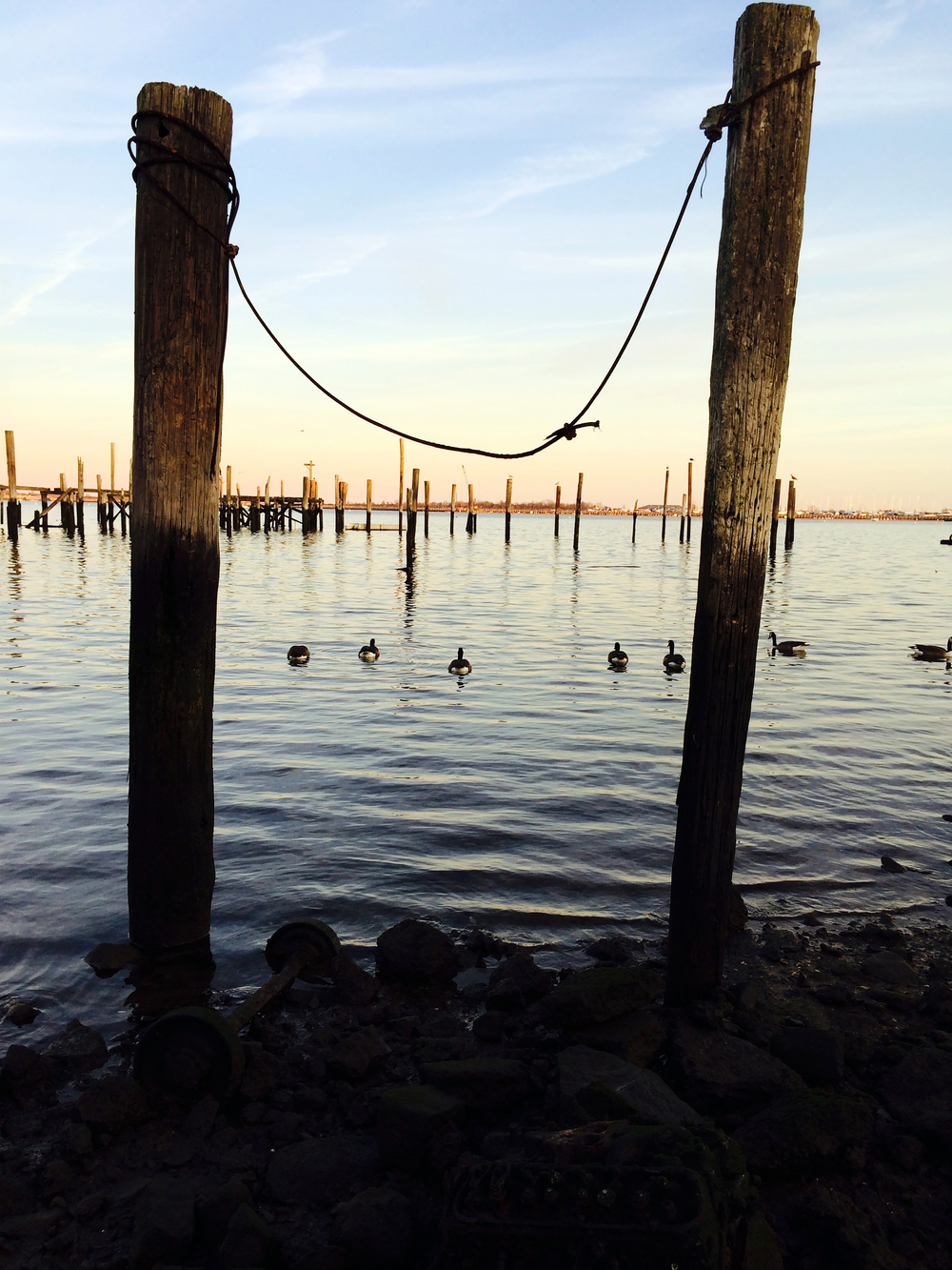 he remains of a pier, destroyed by Hurricane Sandy, on Great Kills in Staten Island - December 27, 2014