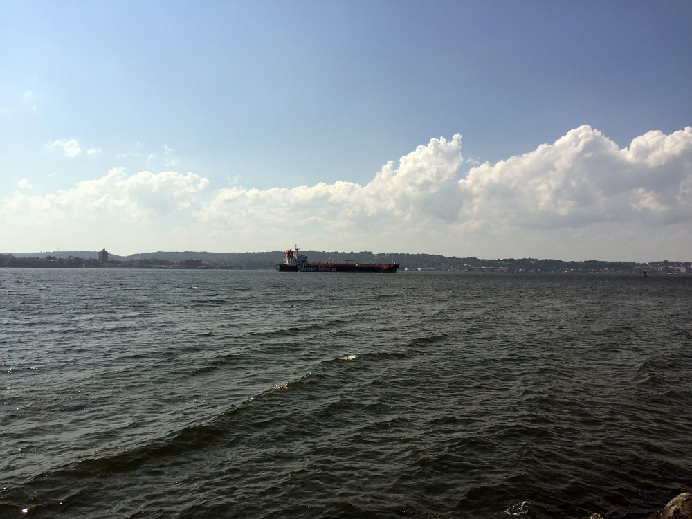 The Stena Weco enters New York City harbor through The Narrows on a sunny day in  - August 25, 2015