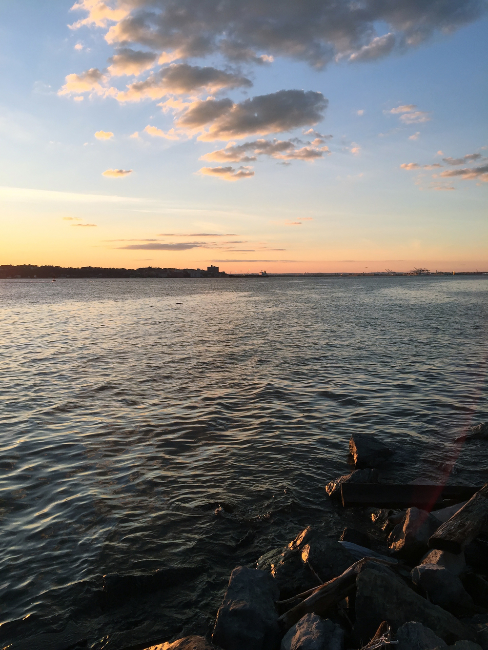 The North-Eastern shore of Staten Island, shot from the Brooklyn side of the Narrows at sunset in late summer - August 28, 2015